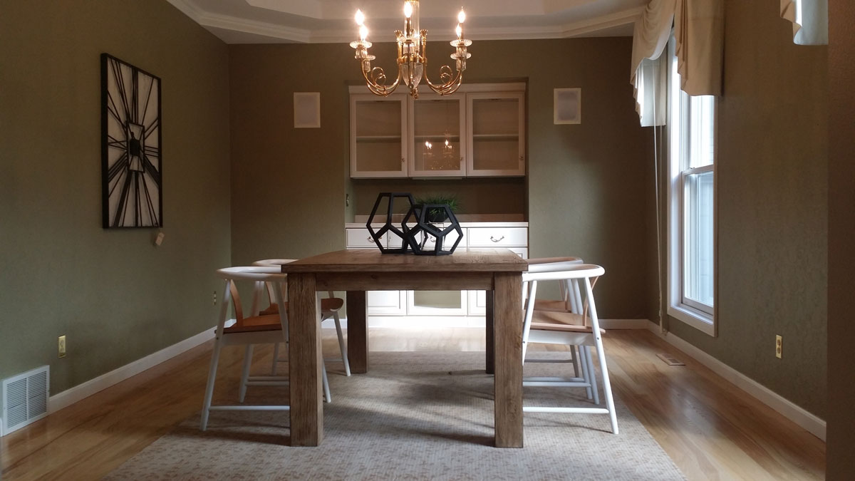 Timber Creek dining room after staging