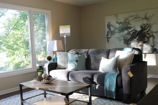 charcoal sofa with neutral accents and a pop of blue staging