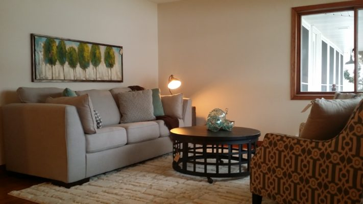 gray sofa with landscape artwork staging