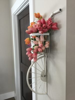 wall bike floral tulip dimensional wall décor