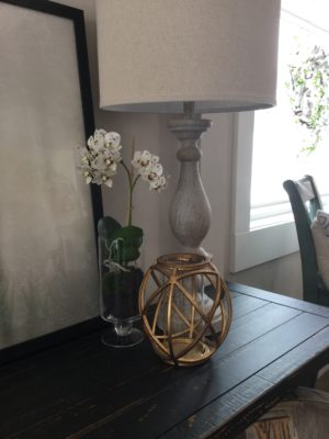 whitewashed lamp orchid gold candle orb