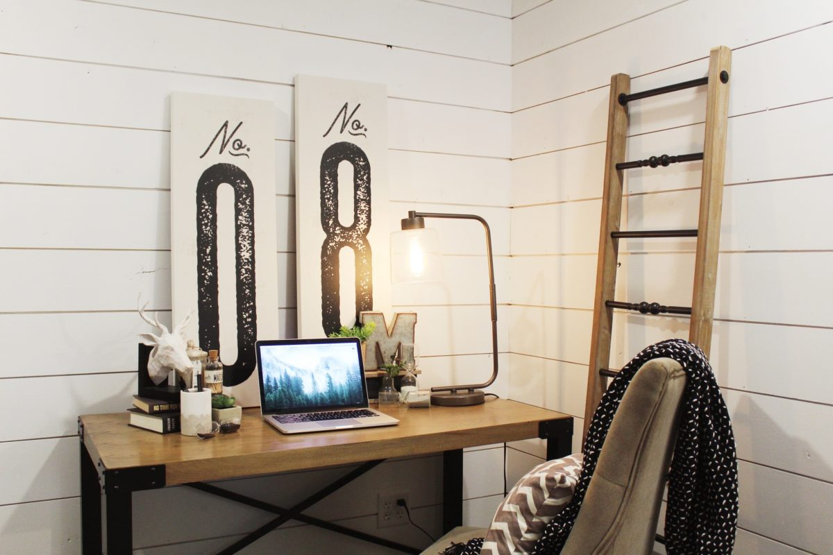 home office with shiplap artwork ladder reclaimed industrial work from home in style