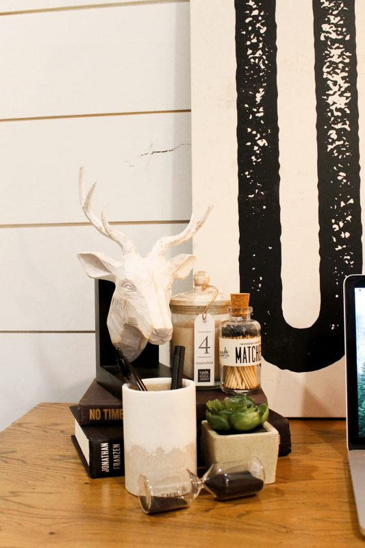 desk accessories deer head candle artwork