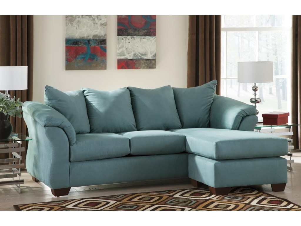 overstuffed blue sofa with chaise