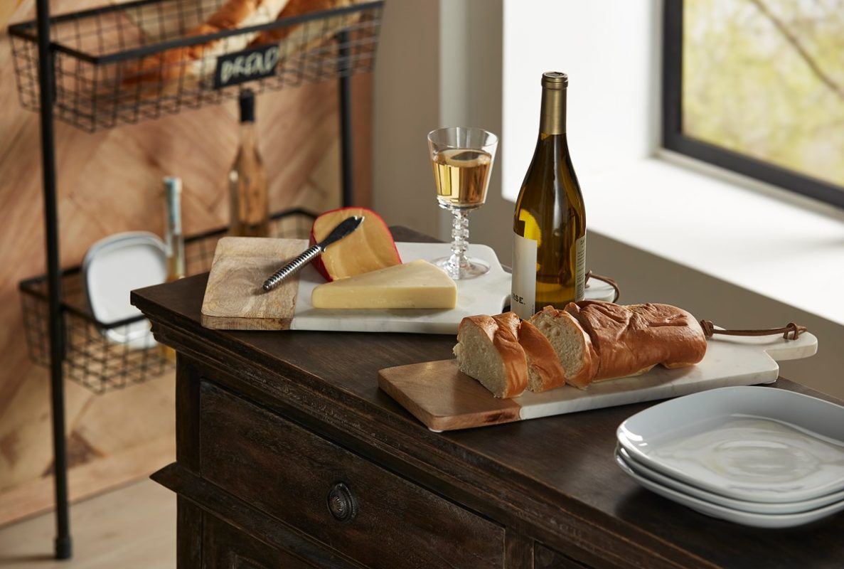 marble and wood boards bread wine entertaining