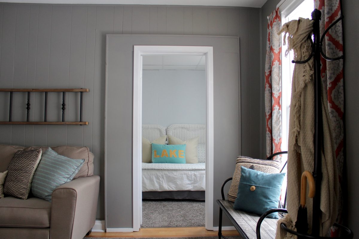 View of a guest bedroom from living room.